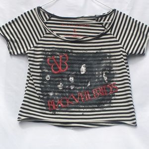 Tops - Black Veil Brides | Striped Graphic Band Tee - S